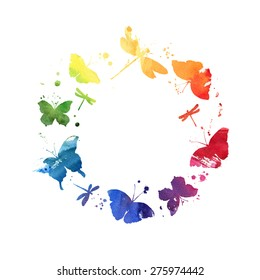 Watercolor wreath with colorful rainbow butterflies. Frame with central white copy space for your text