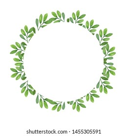 Watercolor wreath design with green plants isolated on white background. Hand drawn card with branches, leaves. Design invitations, banners, greeting cards, event projects, posters.