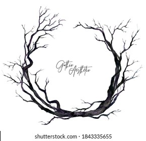 Watercolor Wreath of Dry Black Twigs Isolated on White. Floral Halloween Decoration. Rustic, Gothic Style Design. Botanical Illustration of Naked Tree Branches. Autumn, Winter Season Clipart.