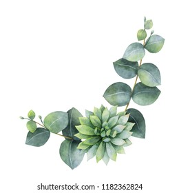 Watercolor wreath with eucalyptus leaves and succulents . Illustration for wedding invitation, save the date or greeting design. Spring or summer flowers with space for your text.