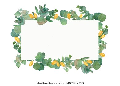 Watercolor wreath with eucalyptus leaves and yellow tulip flowers. Illustration for wedding invitation, save the date or greeting design. Spring or summer flowers with space for your text.