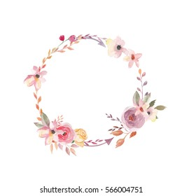 Watercolor wreath. Floral design