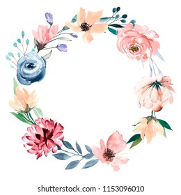 Watercolor wreath, flower frame.  Hand drawn flower circle border isolated on white background. Perfectly for greeting card, wedding, birthday, Easter, Mother's Day, Valentine's Day invitation.