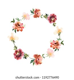 Watercolor wreath with flowers and leaves in circle. Colorful floral ornament for design invitations and cards. Illustration with hand drawn plants.