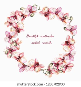 Watercolor wreath of flowers of orchids.