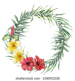 Watercolor wreath with flowers and palm leaves. Hand painted floral illustration with coconut, eucalyptus leaves, plumeria and hibiscus isolated on white background. For design, print or background.