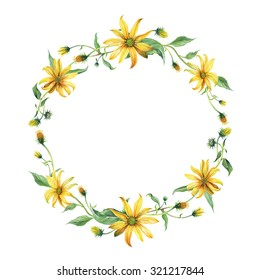 Watercolor wreath or garland. Yellow daisies with green leaves on white background. Can be used as invitation or greeting card, print, your banner.