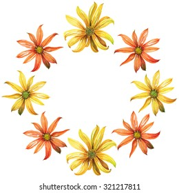 Watercolor wreath or garland. Yellow and orange daisy flowers on white background. Can be used as invitation or greeting card, print, your banner.