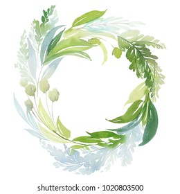 Watercolor wreath with green branches. Greeting card.