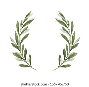 Watercolor wreath of green olive branches and berries. Hand drawn illustration for sports achievements, awards, victories and success..