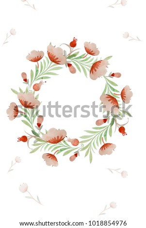 Watercolor Wreath Hand Painted Floral Stock Illustration
