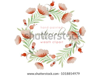 Watercolor Wreath Hand Painted Floral Stockillustration