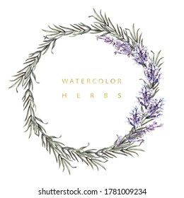 Watercolor wreath with herbs lavender and rosemary.