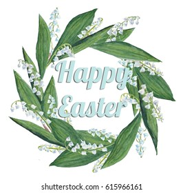 Watercolor wreath of lilies of the valley, happy easter