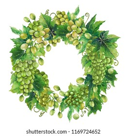 Watercolor wreath made of white grape bunches and leaves. Hand painted botanical design isolated on white background