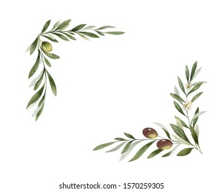 Watercolor wreath of olive branches and berries. Hand drawn illustration for sports achievements, awards, victories and success..