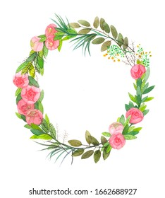 Watercolor wreath with roses  olive leaves and yellow berries