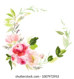 Watercolor wreath with roses. White background. Abstract flowers