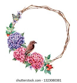 Watercolor wreath with sparrow and batterfly. Hand painted hydrangea and dog rose with eucalyptus leaves isolated on white background for design, print