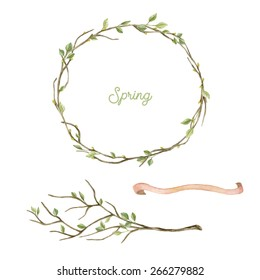 Watercolor wreath with spring  leaves and branches. Spring set. Frame and tree branch with leaves. Hand drawn illustration.