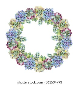 Watercolor wreath of succulents. Hand drawn raster illustration