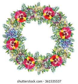 Watercolor wreath of succulents and pansies. Hand drawn raster illustration