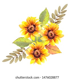 Watercolor wreath of sunflowers, leaves  and branches. Autumn illustration  isolated on white background.