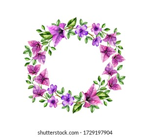 Watercolor wreath with violet bougainvillea flowers. Hand painted tropical background for text, logo, wedding cards. Botanical illustrations isolated on white