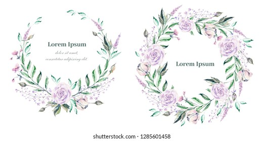 Watercolor wreath for wedding or romantic design. Floral composition, natural beauty. Hand drawn illustration.