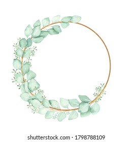 Watercolor wreath-frame of eucalyptus branches with Golden ellipses isolated on a white background. For textiles, Wallpaper, stickers, wedding design.