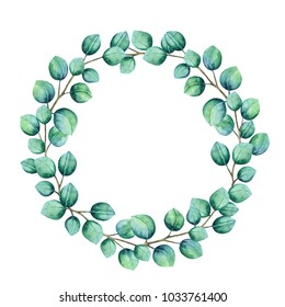 Watercolor wreath,frame. Eucalyptus leaves, branches on white background