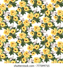 Watercolor yellow blooming roses and rose hips. Seamless pattern
