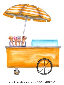 Watercolor yellow cart, trolley, truck with ice cream waffle cone. Hand-drawn illustration isolated on a white background.