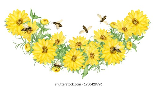 Watercolor yellow floral half wreath with bees, spring flowers, insects