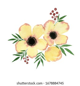 watercolor yellow flower springtime bouquet isolated on white, hand painted abstract anemone flowers, bright and beautiful floral decoration