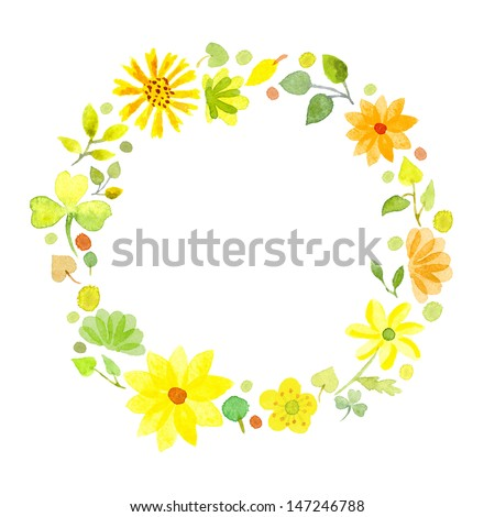 watercolor yellow flowers frame template 1 stock illustration