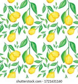 watercolor yellow lemon pattern. Hand painted