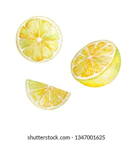 watercolor yellow lemon slices and halves set on white background