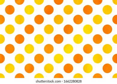 Watercolor yellow and orange polka dot background. Pattern with yellow polka dots for scrapbooks, wedding, party or baby shower invitations.