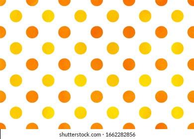 Aquarellgelb und orangefarbener Polka-Punkthintergrund. Muster mit gelben Polka-Punkten für Scrapbooks, Hochzeiten, Feiern oder Babydusche.