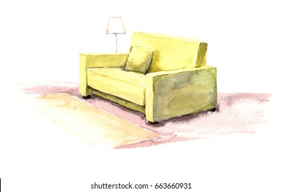 Watercolor yellow sofa with a pillow and a lamp. Hand painted on white background.