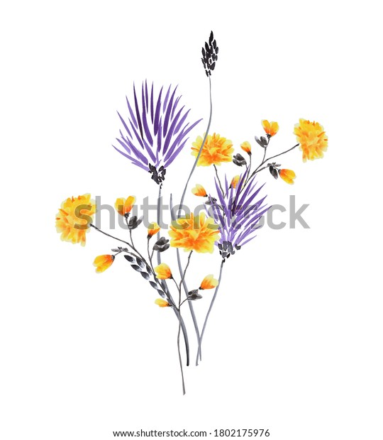 Watercolor yellow and violet flowers on a white background. Isolated -B