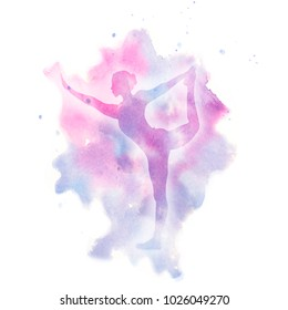 Watercolor yoga pose. Watercolor pink blue violet bland colors, girl silhouette in yoga pose on a beautiful watercolor stain