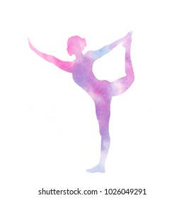 Watercolor yoga pose. Watercolor pink blue violet bland colors, girl silhouette in yoga pose. Isolated on white background