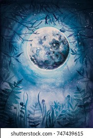Watercolor/aquarelle illustration. The Moon in a winter wood