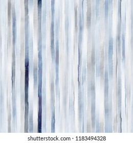 Watercolor-Dyed Striped Textured Background In Tonal Blue Palette. Seamless Pattern.