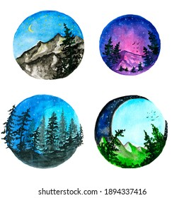 Watercolor,Mountains lake trees clouds travel painting landscape watercolor Watercolor set, digital