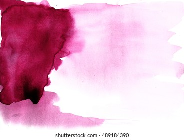 Watercolors burgundy color on textured paper background - Abstract Illustration
