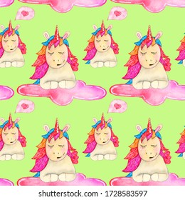 Watercolors draw a seamless pattern consisting of a magic unicorn on a cloud on a green background.