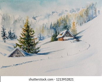 Watercolors original painting of winter mountain landscape and houses covered with snow.
